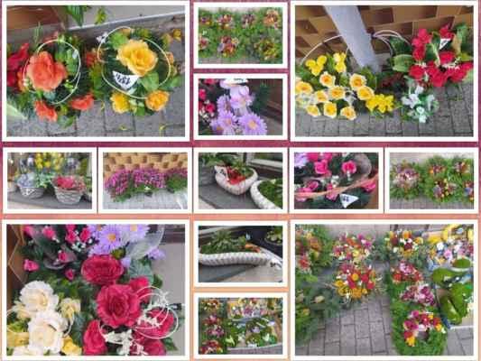 kousek od kostela jsem šla kolem květinářství, kde měli venku plný chodník a okna výzdoby na hřbitov ...... zaujaly mne ty ceny, které byly víceméně poloviční jako ceny jinde .....